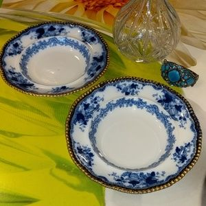 "Two antique flow blue wall plates 9"".  ""amazing"""